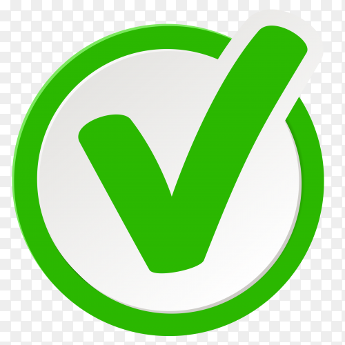 Green Correct icon in circle on transparent background PNG