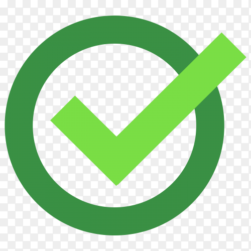 Green correct icon on transparent background PNG