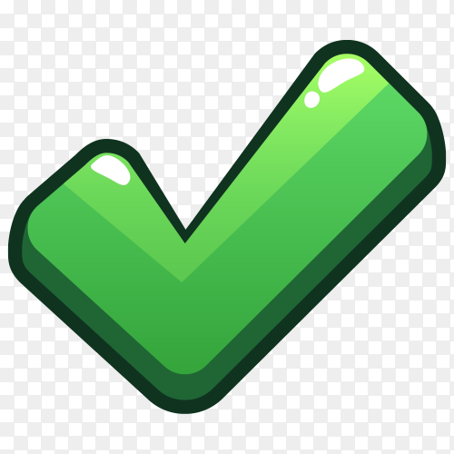 Green correct icon premium vector PNG