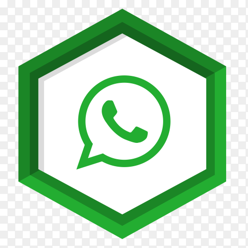 Green whatsapp icon isolated on transparent PNG
