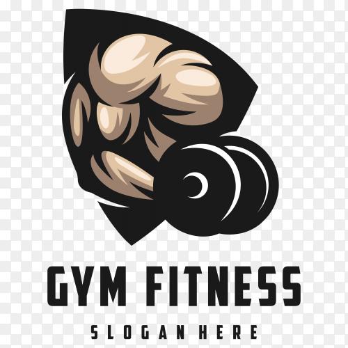 Gym Fitness club logo design on transparent background PNG