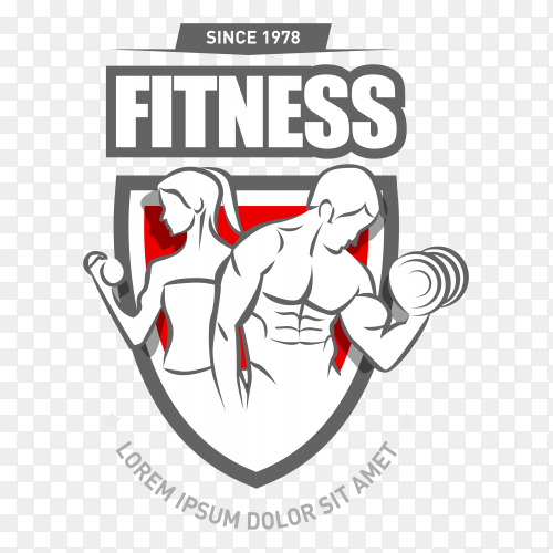 Gym club logo template on transparent background PNG