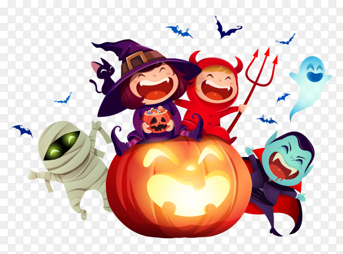 Halloween night with group of kids in costume party on transparent background PNG