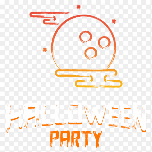 Halloween party banner on transparent background PNG