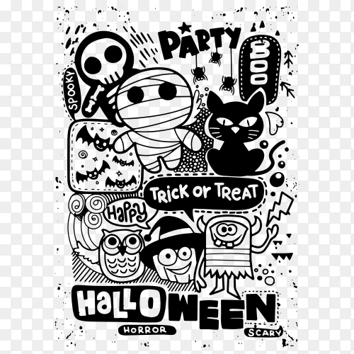 Halloween party invitation card on transparent background PNG