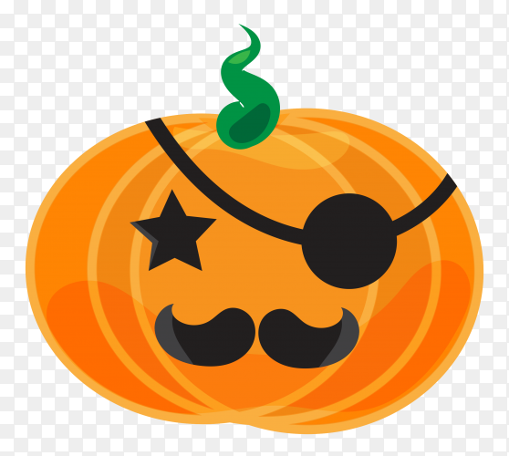 Halloween pumpkin head sticker on transparent background PNG