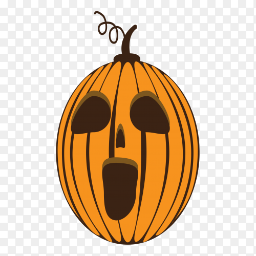 Halloween pumpkin set with face emotion on transparent PNG