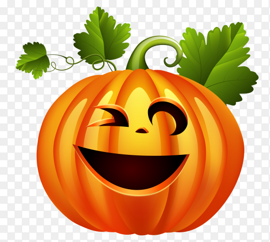 Halloween pumpkin set with face emotion on transparent background PNG