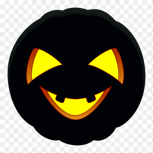 Halloween pumpkin with black color on transparent background PNG