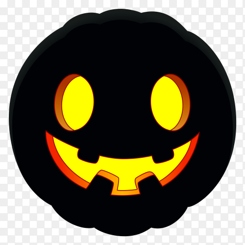Halloween pumpkin with funny face on transparent background PNG