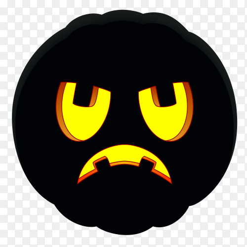 Halloween pumpkin with sad face on transparent background PNG
