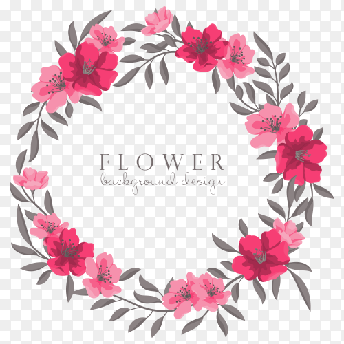 Hand drawing pink Flower Wreaths premium vector PNG