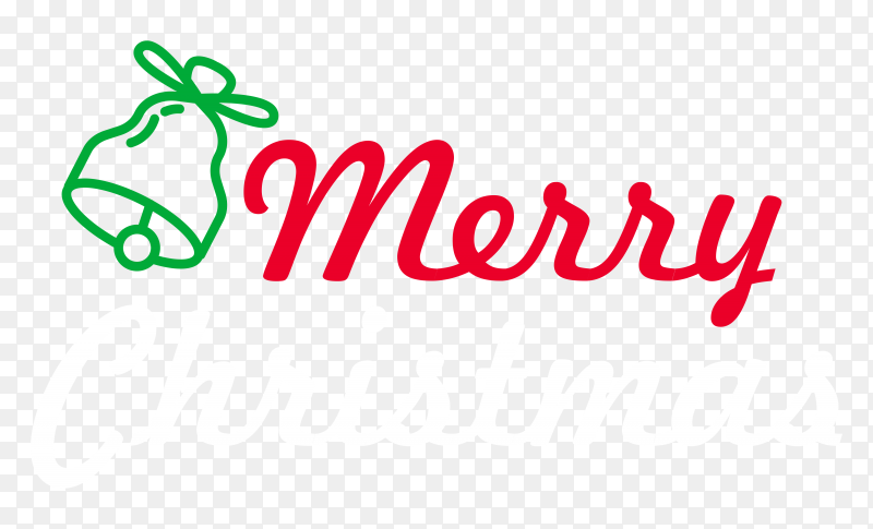 Hand drawn  merry christmas on transparent background PNG