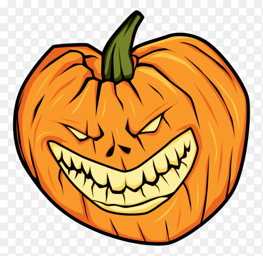 Hand drawn Angry halloween pumpkin on transparent background PNG