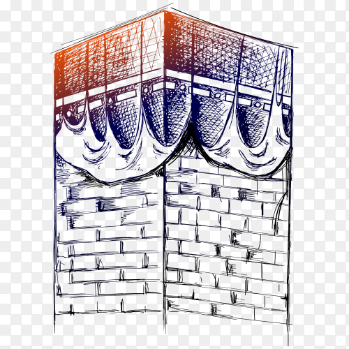 Hand drawn Islamic kaaba mosque isolated on transparent background PNG