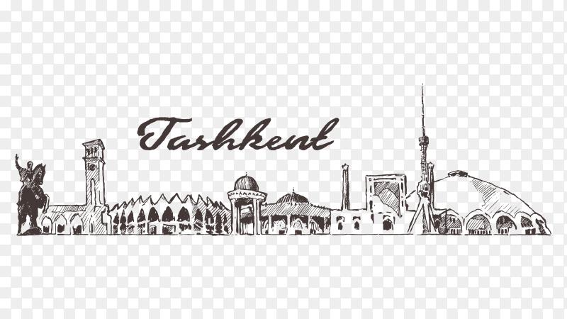 Hand drawn Tashkent skyline design on transparent background PNG