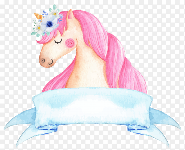 Hand drawn Unicorn with watercolor on transparent PNG