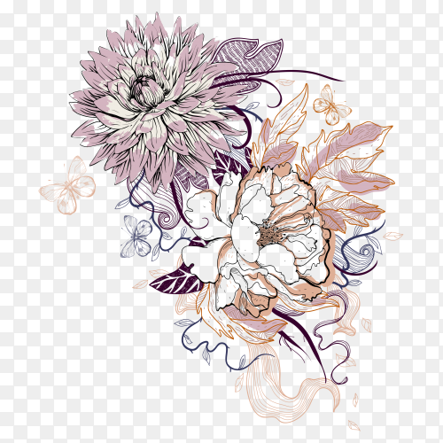 Hand drawn beautiful flowers on transparent background PNG