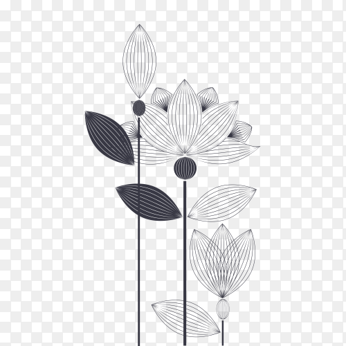 Hand drawn beautiful flowers premium vector PNG