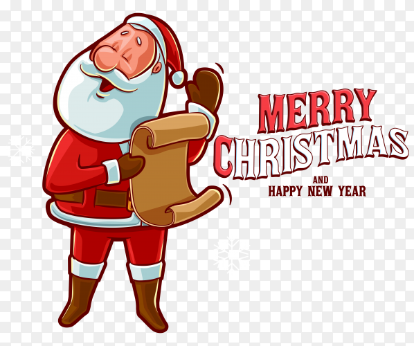 Hand drawn christmas with santa claus on transparent background PNG