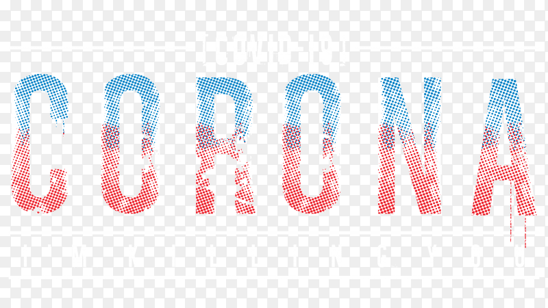 Hand drawn corona lettering banner design on transparent background PNG