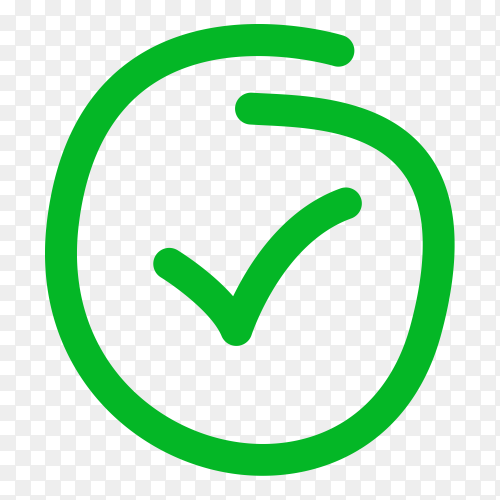 Hand drawn green correct icon on transparent background PNG