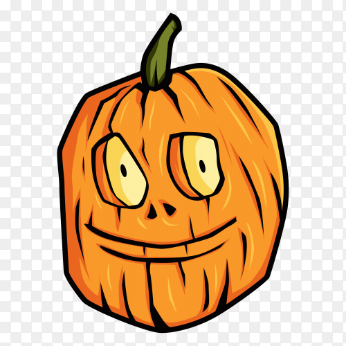 Hand drawn halloween pumpkin on transparent background PNG