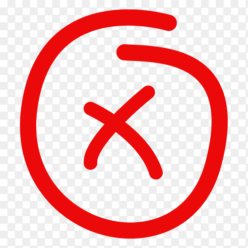 Hand drawn red incorrect icon on transparent background PNG
