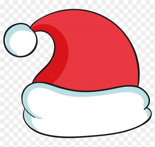 Hand drawn santa claus hat illustration on transparent background PNG