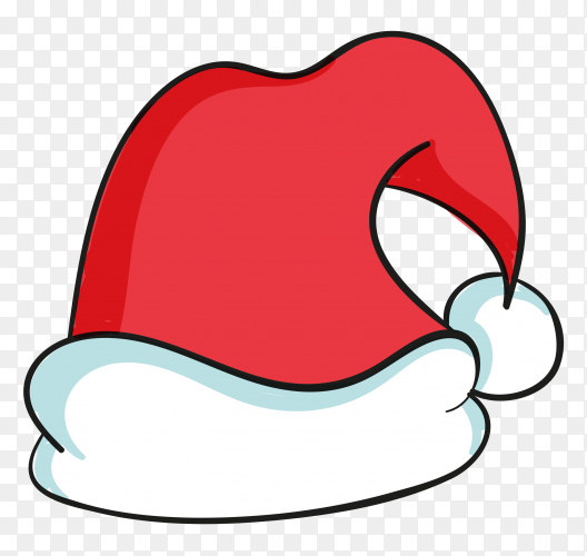 Hand drawn santa claus hat on transparent background PNG