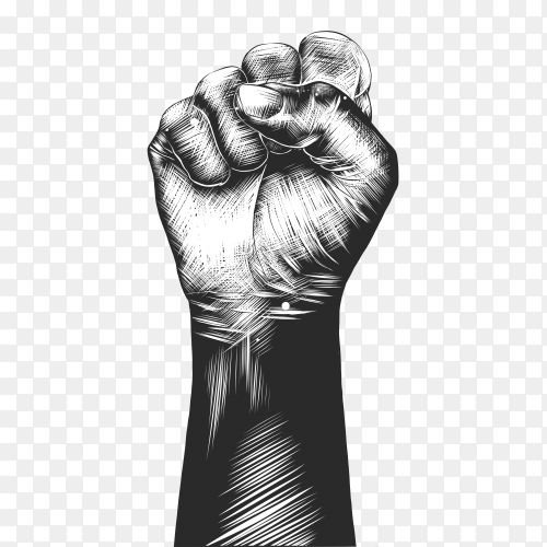 Hand drawn sketch of human fist premium vector PNG