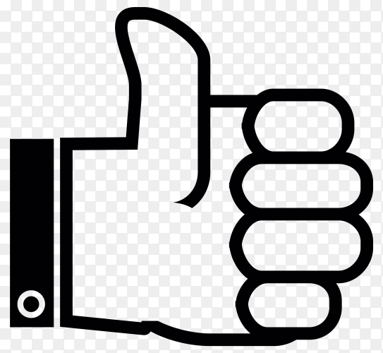 Hand drawn thumbs up hand premium vector PNG