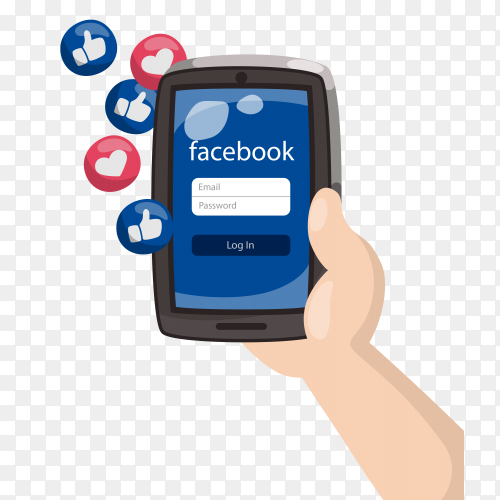 Hand holding mobile phone with facebook emoticon on transparent background PNG