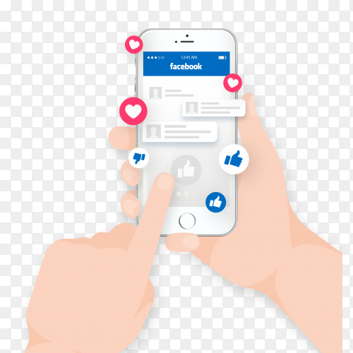 Hand holding phone with facebook notifications on transparent background PNG