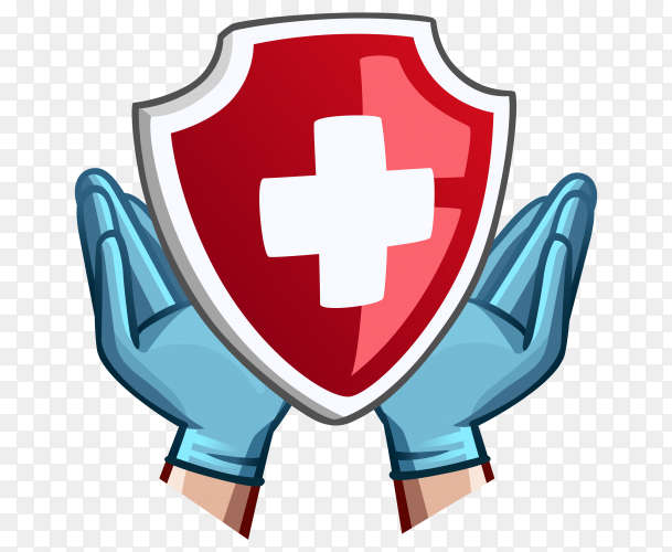 Hands in medical gloves and red shield with cross on transparent background PNG