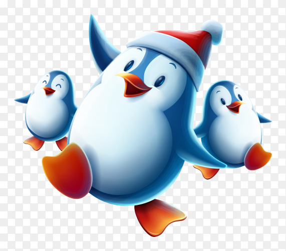 Happy cartoon penguin raising arms premium vector PNG