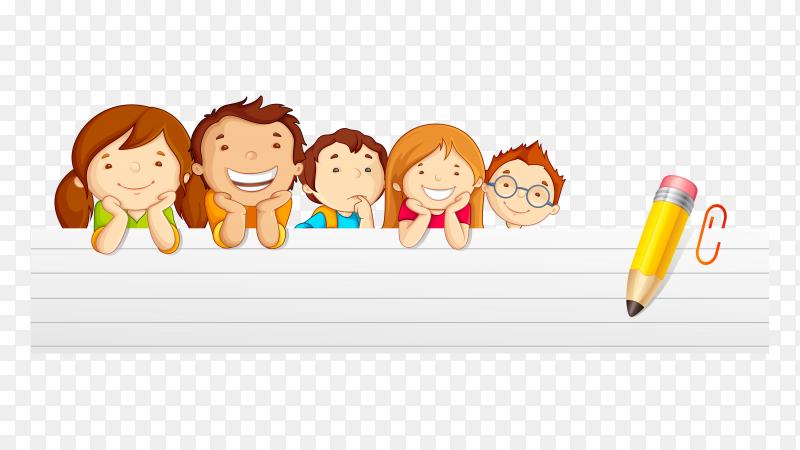 Happy childern banner design on transparent background PNG