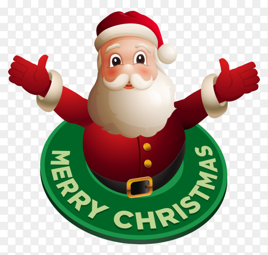 Happy christmas card with cartoon santa claus on transparent background PNG
