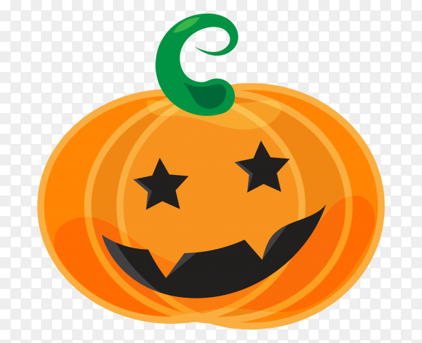 Happy halloween pumpkin cartoon face on transparent background PNG