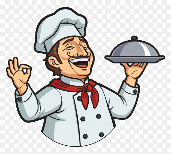 Happy male chef on transparent background PNG