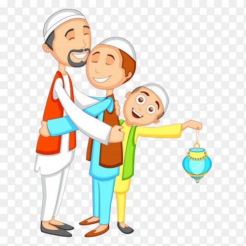 Happy muslim family illustration on transparent background PNG