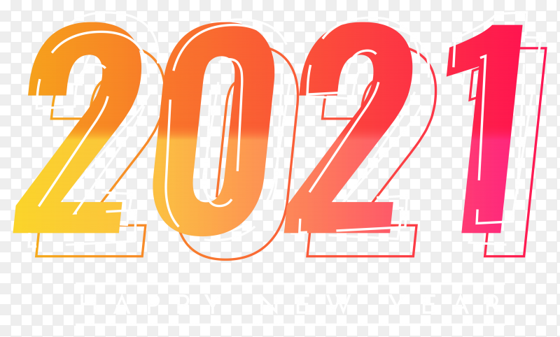 Happy new 2021 year colorful design on transparent background PNG