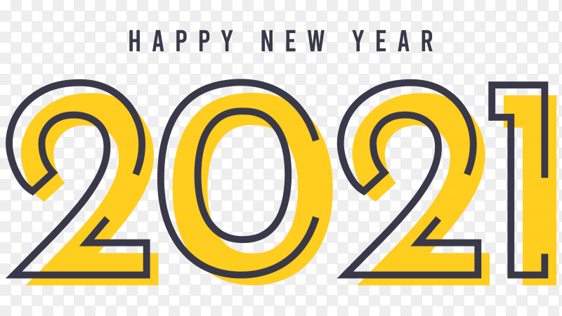 Happy new 2021 year template on transparent background PNG
