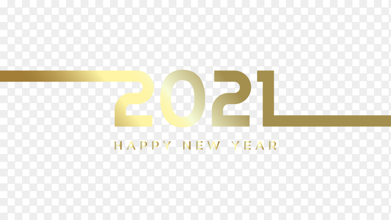 Happy new 2021 year with gold line premium vector PNG