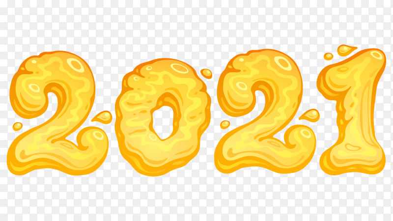 Happy new 2021 year with yellow color on transparent background PNG