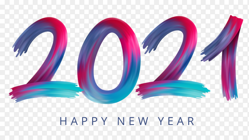 Happy new year 2021 banner design on transparent background PNG