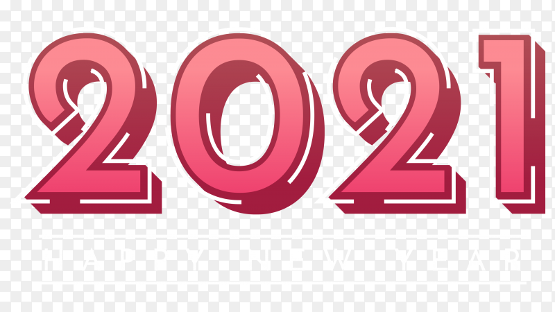 Happy new year 2021 design on transparent background PNG