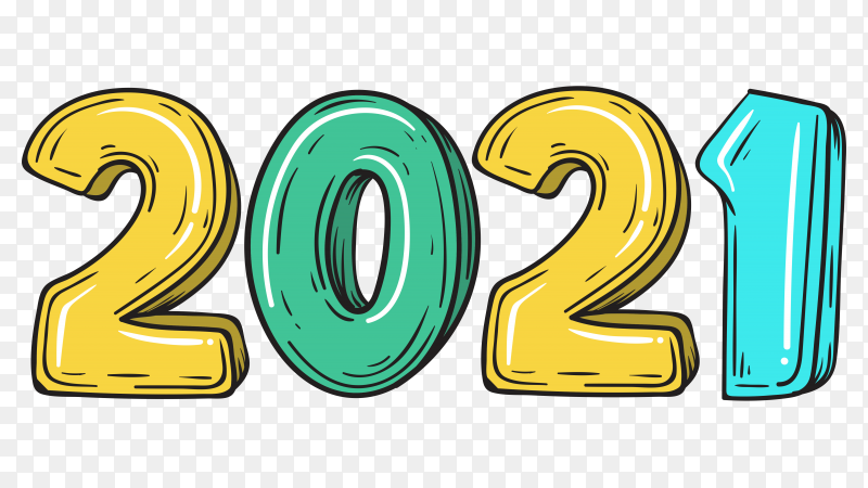 Happy New Year 2021 Greeting Card With Colorful Modern Design On Transparent Background Png Similar Png