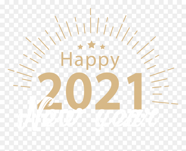 Happy new year 2021 poster design on transparent background PNG