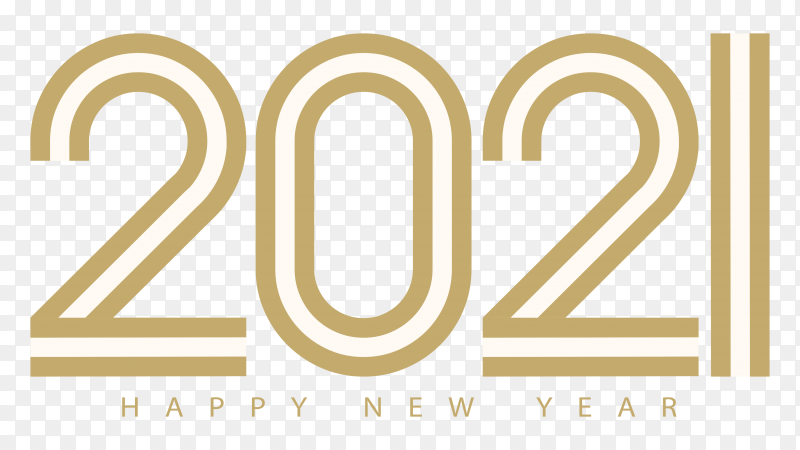 Happy new year 2021 text greeting on transparent background PNG